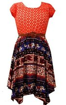 Big-Girls Tween Orange/Purple Belted Lace to Tribal Print Hanky Hem Dress, OA...