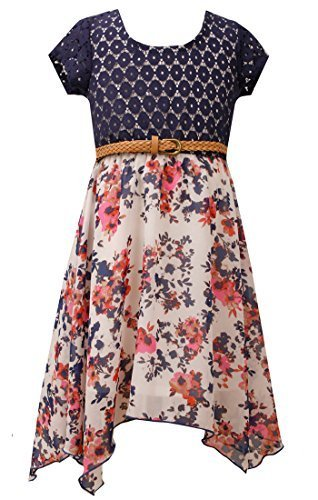 Big-Girls Tween Blue/White Belted Lace to Floral Chiffon Hanky Hem Dress, BU4...