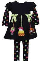 Bonnie Jean Girls 2T-6X Halloween Ornaments' Applique Dress / Legging Set (3T...