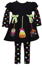 Bonnie Jean Girls 2T-6X Halloween Ornaments' Applique Dress / Legging Set (5,...