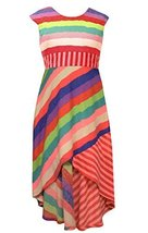 Little Girls 4-6X Red/Multi Bold Rainbow Stripe High Low Knit Maxi Dress, Bon...