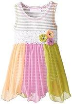 Baby-Girls Newborn Grey/Multi Stripe Knit to Colorblock Chiffon Hanky Hem Dre... image 2