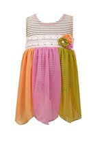 Baby-Girls Infant Grey/Multi Stripe Knit to Colorblock Chiffon Hanky Hem Dres...