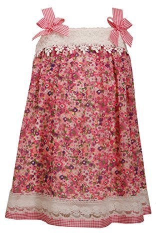Little-Girls 2T-6X Pink Purple Lace Border Floral Print Chiffon Shift Dress, ...