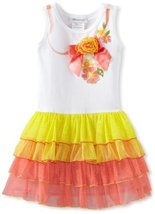 Bonnie Jean Girls 2-6X Ribbon Screen Print Tutu Dress (4T, Multi)