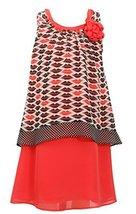 Big-Girls Tween 7-16 Coral Black Lips Print Pop Over Chiffon Dress, 16, Black...