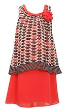 Big-Girls Tween 7-16 Coral Black Lips Print Pop Over Chiffon Dress, 7, Black/...