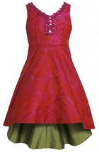Tonal Rose Jacquard Embellished Neckline Hi-Lo Dress FU4BY Bonnie Jean Tween ... image 2