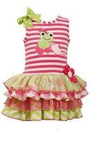 Little-Girls 2T-6X Stripe Knit Frog Applique Mix Print Sparkle Tier Dress, 2T...