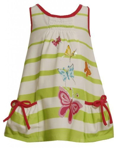 Size-2T, Green, BNJ-2321M, Green Glitter Sequin Butterfly Screen Print Dress,...