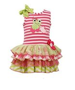 Little-Girls 2T-6X Stripe Knit Frog Applique Mix Print Sparkle Tier Dres... - $29.60
