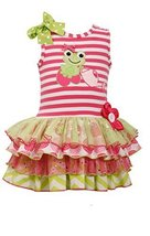 Little-Girls 2T-6X Stripe Knit Frog Applique Mix Print Sparkle Tier Dress, 4T