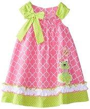 Little Girls Pink Bow Shoulder Frog Applique Trapeze Dress, Bonnie Jean, Pink, 4 image 2