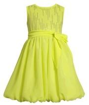 Size-4, Yellow, BNJ-2333S, Neon-Yellow Foil Dot Knit to Chiffon Bubble Dress,...