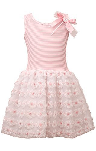 Little-Girls Pink White Stripe Knit to Mini Bonaz Rosette Drop Waist Dress, P...