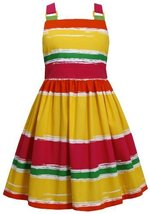 Little Girls 4-6X Yellow Multi Bold Bright Colorblock Lace Back Dress (4, Yel... image 2