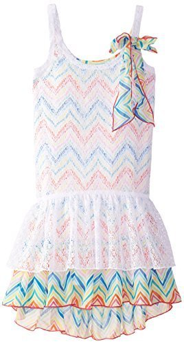 Bonnie Jean Big Girls' Lace Over Print Knit Dress, Multi, 7 [Apparel]