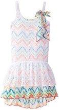 Bonnie Jean Big Girls' Lace Over Print Knit Dress, Multi, 7 [Apparel]