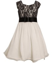 Big Girls Tween 7-16 Black/White Lace And Chiffon Fit Flare Social Dress, Bon...