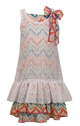 Big-Girls Tween 7-16 White Multicolor Chevron Stripe Lace Overlay Dress, 8, W...