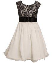 Big Girls Tween 7-16 Black/White Lace And Chiffon Fit Flare Social Dress, Bon...