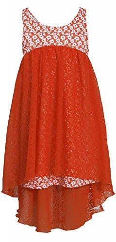 Orange White Floral Print High Low Laser Cut Chiffon Dress OR3BU, Orange, Bon...