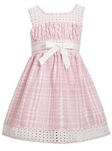 Little Girls Pink/White Metallic Check Eyelet Seersucker Dress, Pink, 4T