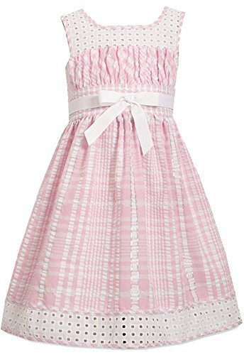Little Girls Pink/White Metallic Check Eyelet Seersucker Dress, Pink, 6