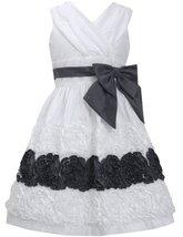 Little Girls 4-6X Ivory Black Ruched Cross Over Bonaz Border Taffeta Dress (4... image 2