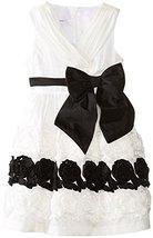 Little Girls 4-6X Ivory Black Ruched Cross Over Bonaz Border Taffeta Dress (5...