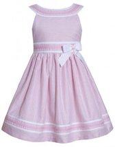 Pink White Metallic Stripe Yoke Neckline Linen Dress PK2HA, Pink, Bonnie Jean...