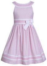 Bonnie Jean Little Girls' Linen Stripe Dress, Pink, 5 [Apparel] Bonnie Jean