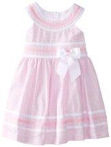 Bonnie Jean Little Girls' Linen Stripe Dress, Pink, 6 [Apparel] Bonnie Jean