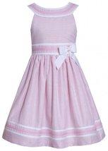 Pink White Metallic Stripe Yoke Neckline Linen Dress PK3SP, Pink, Bonnie Jean...