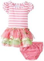 Bonnie Baby Baby-Girls Newborn Stripe Knit To Multi Tiered Skirt, Pink, 3-6 M...