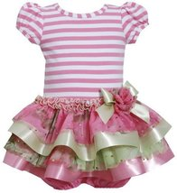 Pink Stripe Knit to Tier Mix Media Sparkle Dress PK0SA, Pink, Bonnie Jean Bab...