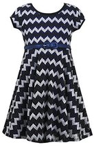Bonnie Jean Little Girls 4-6X Black/Blue Metallic Chevron Belted Knit Dress (... image 1