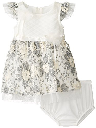 Baby-Girls Newborn 3M-9M Ivory Grey Quilted Floral Lace Overlay Dress, IO0CH,...