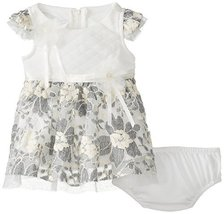 Bonnie Baby Baby-Girls Newborn Lace and Quilted Bodice Dress, Ivory, 6-9 Months