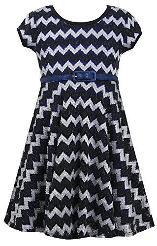 Bonnie Jean Little Girls 4-6X Black/Blue Metallic Chevron Belted Knit Dress (...