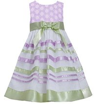 Little-Girls 2T-6X Embroidered Ribbon Organza Overlay Dress, 4, Lavender, Bon...