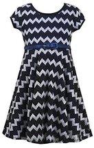 Bonnie Jean Little Girls 4-6X Black/Blue Metallic Chevron Belted Knit Dress (...