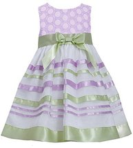 Little-Girls 2T-6X Embroidered Ribbon Organza Overlay Dress (4, Lavender)