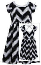 Tween Big-Girls 7-16 Black White Textured Chevron Stripe Cut-Out Back Dress, ...