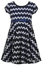 Bonnie Jean Little Girls 4-6X Black/Blue Metallic Chevron Belted Knit Dress (... image 2