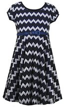 Girls Plus 12.5-20.5 Black White Blue Belted Chevron Stripe Metallic Knit Dre... image 1