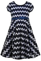 Girls Plus 12.5-20.5 Black White Blue Belted Chevron Stripe Metallic Knit Dre... image 2