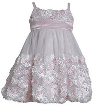 Little Girls 2T-6X Pink Ivory Die Cut Bonaz Rosette Bubble Mesh Dress, PK2HA,...
