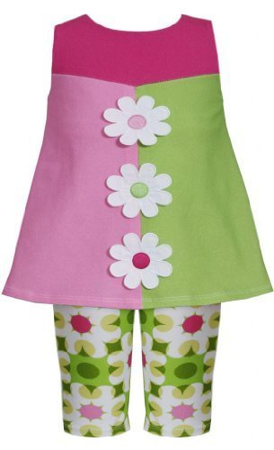 Green Pink Colorblock Daisy Flower Applique Dress/Legging Set GR1MH, Green, B...