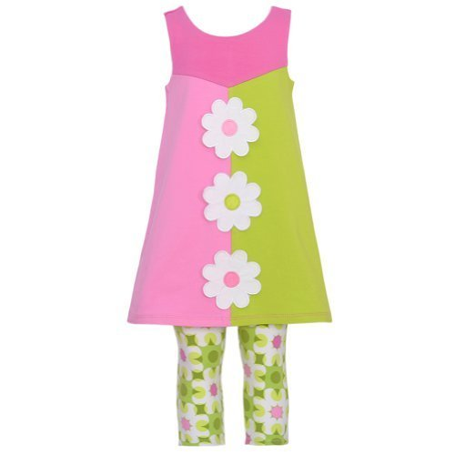 Bonnie Jean Pink Green Daisy Color Block Spring Outfit Baby Girl 18M [Apparel...